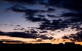 Обои небо, солнце, облака, пейзаж, природа, вечер, лучи. закат