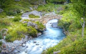 Обои мост, природа, река, Франция, Альпы, Национальный парк Экрен