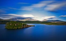 Картинка небо, облака, горы, озеро, остров
