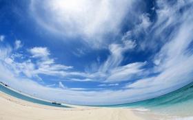 Картинка песок, море, небо, облака, корабль, искажение