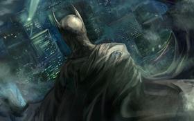 Обои ночь, город, batman, здания, бэтмен, костюм