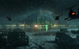 Обои море, снег, ночь, здание, вертолеты, Crysis 3