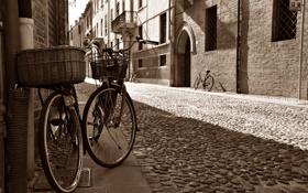Картинка дорога, город, улица, здания, дома, брусчатка, Италия