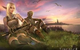Картинка девушка, игры, пейзажи, эльф, арт, парень, эльфийка