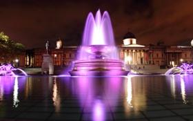 Обои город, вечер, фонтан