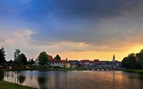 Картинка закат, город, река, мост