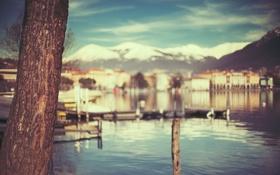 Обои вода, макро, горы, город, дерево, текстура, лодки