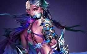 Обои арт, повязка, девушка, татуировки, маска