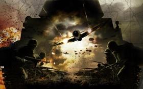 Обои самолет, люди, война, русские, немцы, Challenge, Order of War