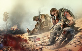 Обои оружие, друг, огонь, пустыня, кровь, дым, солдаты