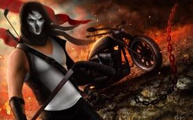 Обои огонь, маска, цепь, мотоцикл, байкер, байк, парень