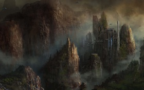 Обои город, скалы, корабли, арт, cloudminedesign