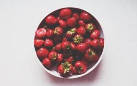 Картинка ягоды, клубника, тарелка, красные, миска