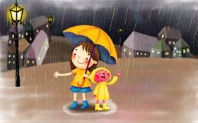 Обои дождь, зонт, фонарь