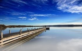 Обои пейзаж, природа, причал, один, вода, озеро, человек