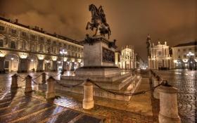 Обои ночь, огни, дома, площадь, Италия, памятник, Турин