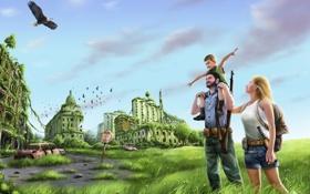 Картинка машина, трава, полет, город, оружие, заросли, птица