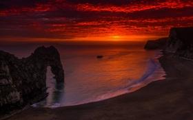 Картинка море, небо, облака, закат, скалы, берег, вечер