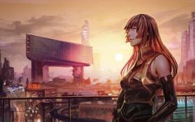 Картинка девушка, солнце, закат, здания, арт, городской пейзаж