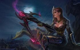 Картинка девушка, ночь, город, оружие, дождь, луна, арт