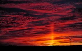 Картинка небо, облака, закат, горизонт, опора, зарево
