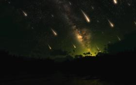 Обои звездопад, ночь