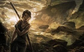 Обои девушка, корабль, лук, Tomb Raider, лара