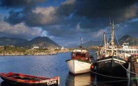 Обои пристань, залив, лодки