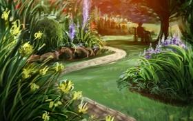 Картинка дорога, деревья, пейзаж, цветы, природа, человек, лавочка