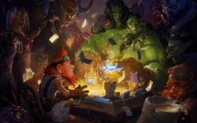 Обои стол, игра, деньги, арт, панда, World of Warcraft, гном