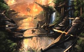 Картинка мост, город, фантастика, транспорт, арт, каньон, ущелье