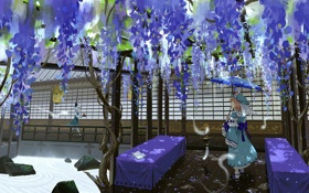 Картинка цветы, дом, девушки, зонт, аниме, арт, touhou