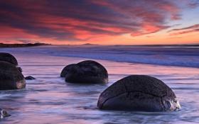 Картинка море, волны, пляж, небо, вода, облака, закат