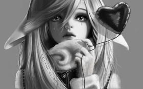 Обои глаза, слезы, веревочка, рука, сердце, арт, черно-белое