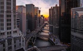 Обои закат, река, здания, небоскребы, вечер, Чикаго, Chicago