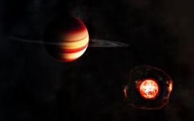Обои солнце, звезды, кольца, гигант, газовый