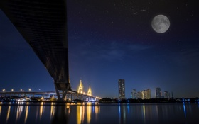 Обои ночь, мост, город, огни, река, луна, Thailand