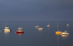 Обои яхта, лодка, небо, утро, море