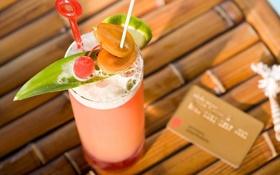 Обои стакан, коктейль, Напиток, трубочка, фрукты, кредитка