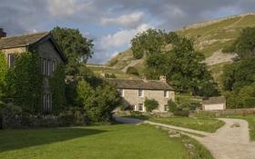 Картинка деревья, газон, Англия, здания, дорожки, деревня, England