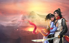 Картинка туман, ленты, Девушка, меч, воин, дворец