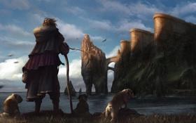Картинка море, собаки, мост, замок, скалы, ветер, человек