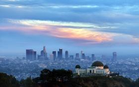 Обои небо, пейзаж, город, Los Angeles