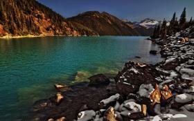 Обои камни, горы, озеро
