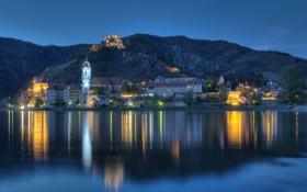 Обои замок-отель Дюрнштайн, Durnstein, река, Дунай, вода, вечер, огни