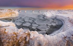 Картинка лед, зима, снег, рассвет, пирс