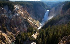 Обои США, леса, Йеллоустон, панорама, водопад, горы, ущелье
