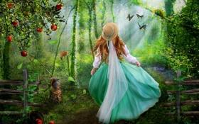 Картинка лес, рендеринг, сказка, арт, девочка, шляпка