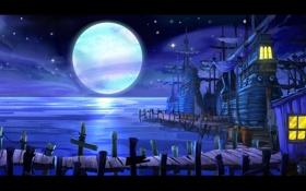 Обои moon, sea, ocean, night, village, Monkey Island