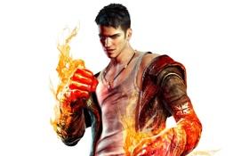 Обои оружие, огонь, демон, кулон, перчатки, Dante, Данте